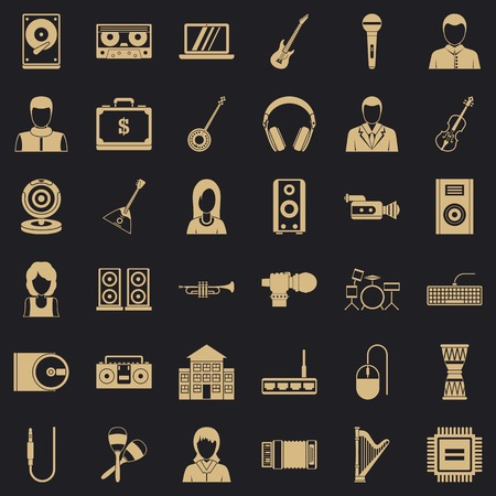 Music business icons set. Simple set of 36 music business vector icons for web for any design