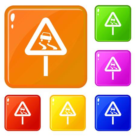 Slippery when wet road sign icons set vector color 스톡 콘텐츠 - 124349453