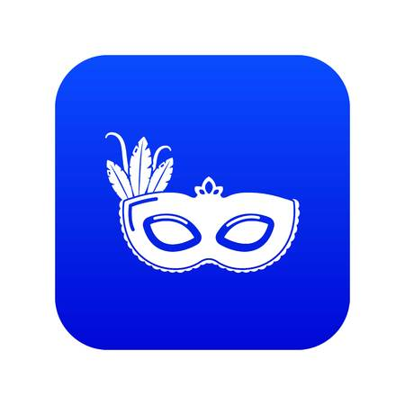 Carnival mask icon blue vector isolated on white background