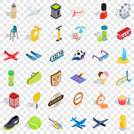 Helicopter icons set, isometric style Vettoriali
