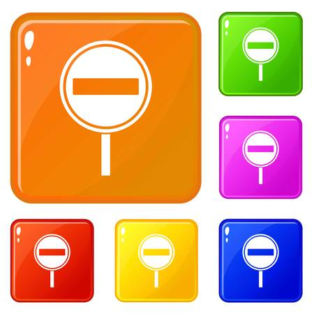 No entry sign icons set vector color