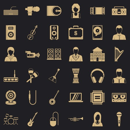 Piece of music icons set, simple style