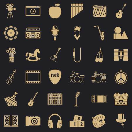 Musical education icons set, simple style