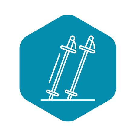 Ski sticks icon, outline style
