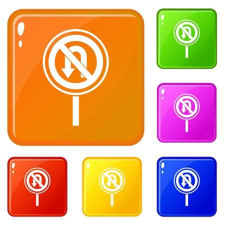 No U turn road sign icons set vector color