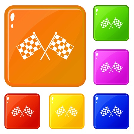 Checkered racing flags icons set vector color