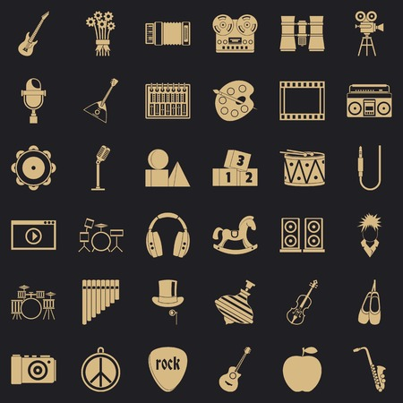 Vaudeville icons set. Simple set of 36 vaudeville vector icons for web for any design Illustration