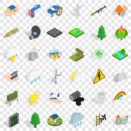 Mountains icons set, isometric style