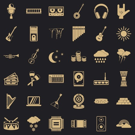 Resound icons set. Simple set of 36 resound vector icons for web for any design Illustration