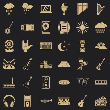 Perfect sound icons set. Simple set of 36 perfect sound vector icons for web for any design Illustration