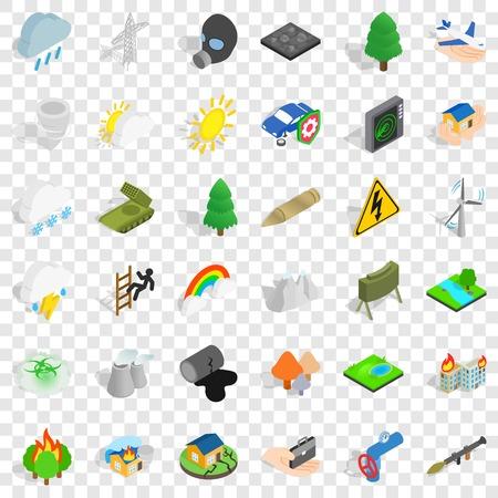 Burning tree icons set, isometric style