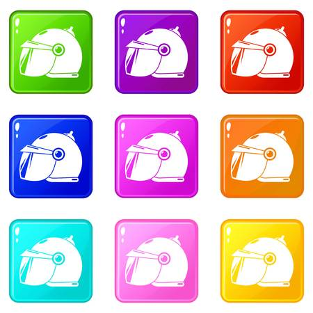 Motorcycle helmet scooter icons set 9 color collection isolated on white for any design