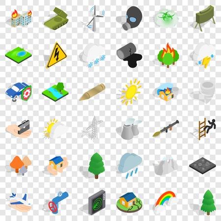 Rainbow icons set, isometric style Ilustrace
