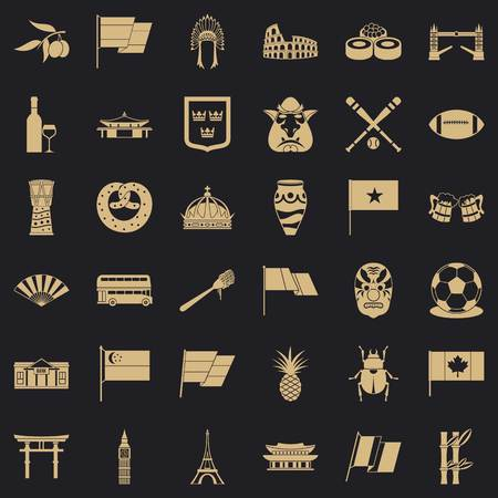 Across the country icons set, simple style
