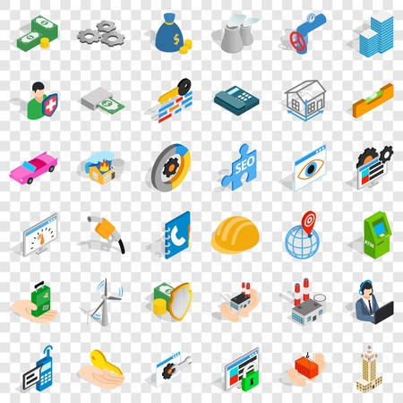 Firm icons set, isometric style