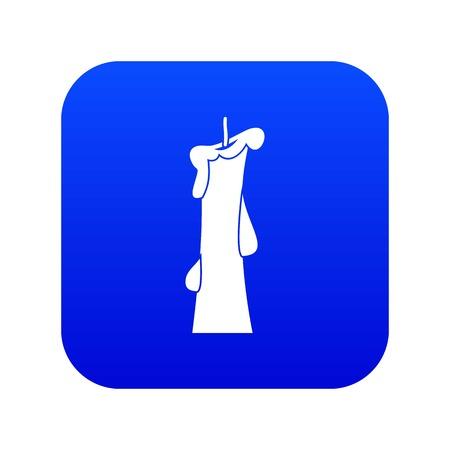 Church candle icon digital blue Vector Illustration