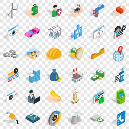 Company icons set, isometric style Ilustrace