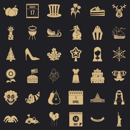 Folklore holiday icons set. Simple set of 36 folklore holiday vector icons for web for any design Иллюстрация