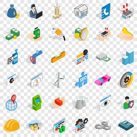 Concern icons set, isometric style