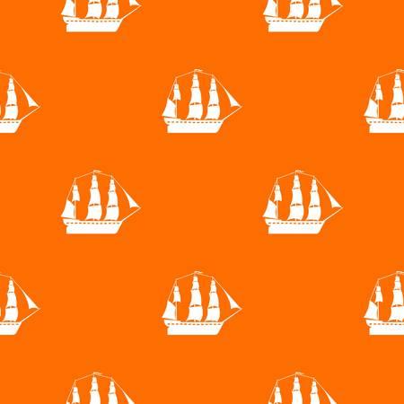 Sailboat pattern vector orange