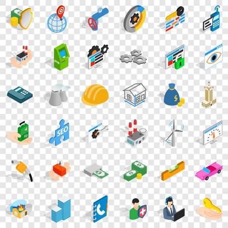 Biz icons set, isometric style Ilustrace