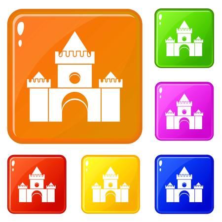 Fairytale castle icons set vector color
