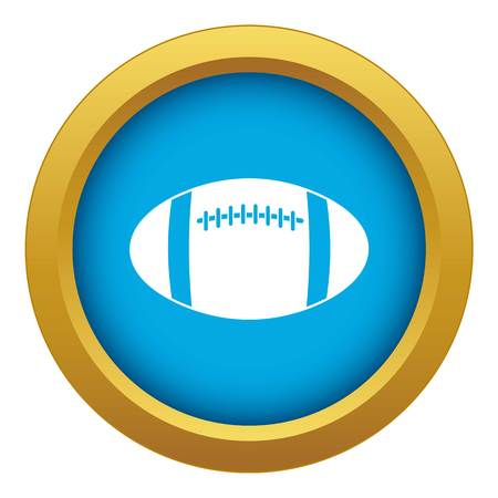 Rugby ball icon blue vector isolated on white background for any design