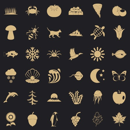View of nature icons set. Simple set of 36 view of nature vector icons for web for any design Archivio Fotografico - 130244454