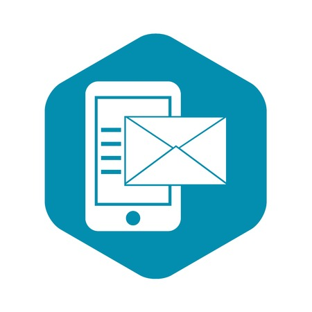 Smartphone with envelope icon, simple style Illustration