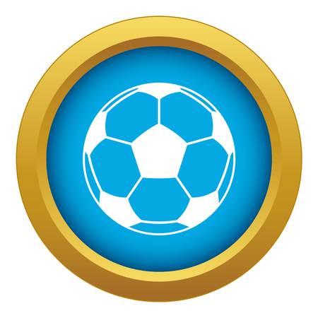 Football or soccer ball icon blue vector isolated