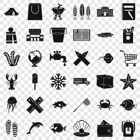 Outdoor icons set, simle style