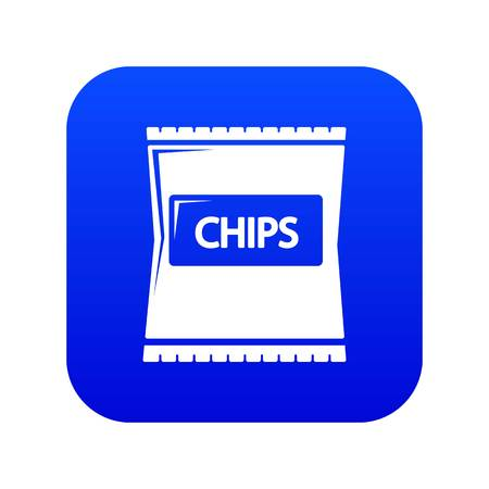 Chips icon blue vector isolated on white background