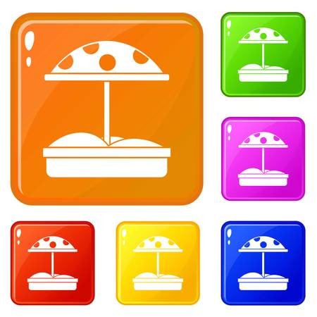 Sandbox with dotted umbrella icons set collection vector 6 color isolated on white background Illustration