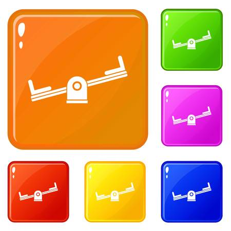 Seesaw icons set collection vector 6 color isolated on white background