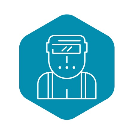 Welder worker icon, outline style
