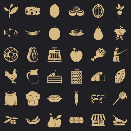 Forest food icons set, simple style