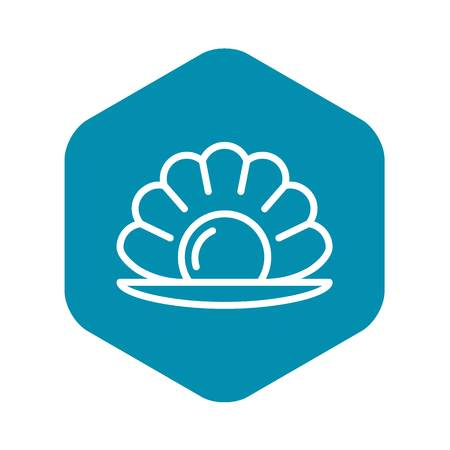 Sea shell pearl icon, outline style