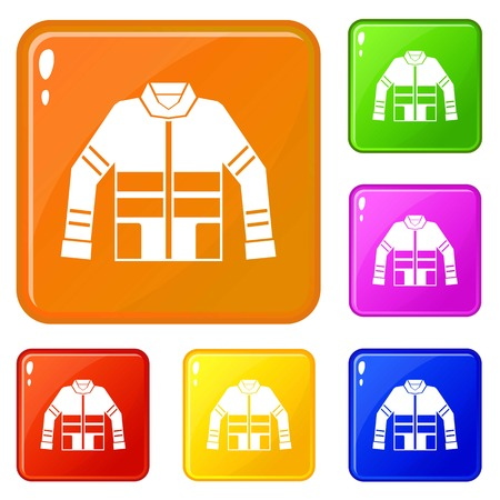 Firefighter jacket icons set vector color