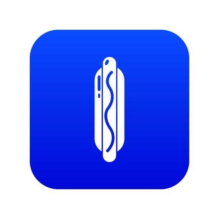 Hot dog icon blue vector isolated on white background