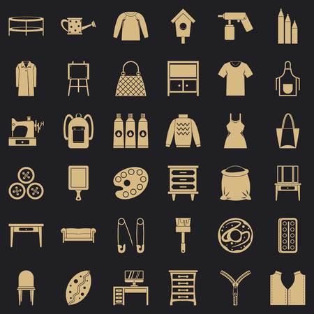 Embroidery icons set. Simple set of 36 embroidery vector icons for web for any design Illustration