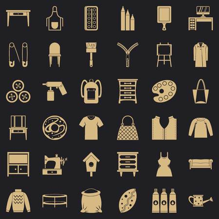 Sewing icons set. Simple set of 36 sewing vector icons for web for any design