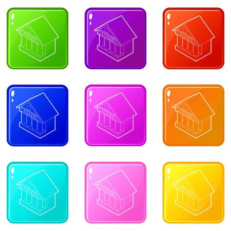 Museum building icons set 9 color collection