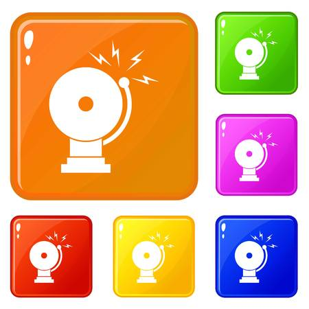 Fire alarm icons set vector color Stock Illustratie