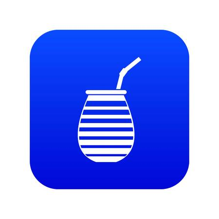 Tea cup used mate or terere in Argentina icon digital blue for any design isolated on white vector illustration