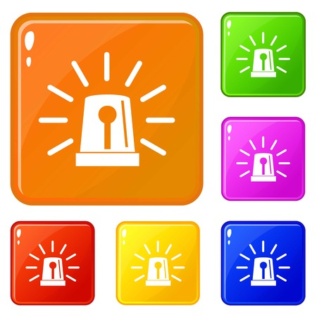 Flashing emergency light icons set collection vector 6 color isolated on white background Vektorové ilustrace