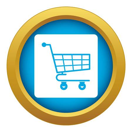 Shopping cart icon blue vector isolated on white background for any design Illustration