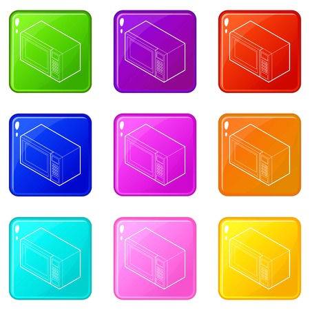 Microwave icons set 9 color collection