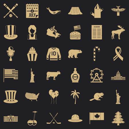 American journey icons set. Simple set of 36 american journey vector icons for web for any design