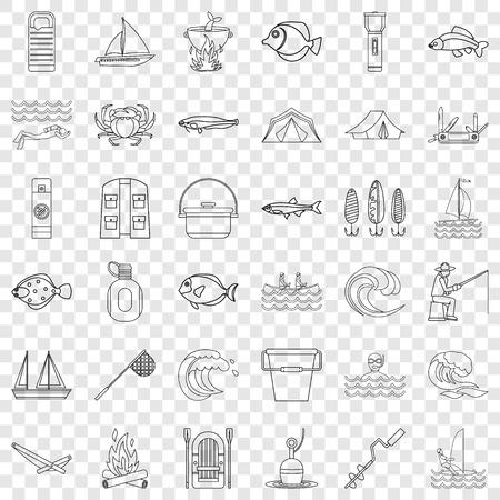Outdoor icons set, outline style