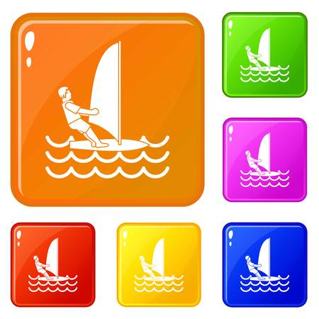 Man on windsurf icons set collection vector 6 color isolated on white background